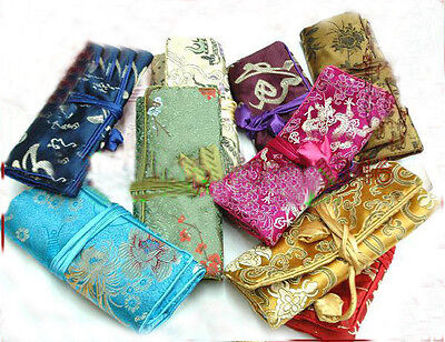 Wholesale5pcs Chinese Handmade Classic Silk Jewelry Rolls Pouch Purse Gift Bag