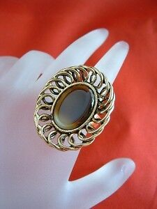 HUGE Fancy Vintage Designer Signed Faux Tiger's Eye Adjustable STATEMENT Ring