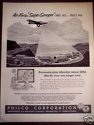 "1956 Philco ""Super Snooper"" TV screen for Air Force Ad"