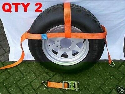 2xCar Dolly Recovery Ratchet Tie Down Straps Adjustable