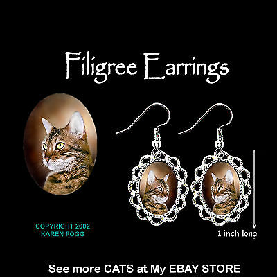 BENGAL STRIPED SHORTHAIR  CAT - SILVER FILIGREE EARRINGS Jewelry