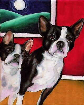 BOSTON TERRIER 2 Dog Art PRINT of Oil Painting by VERN