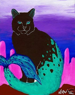 BLACK CAT FISH FANTASY Art PRINT of Painting by Vern