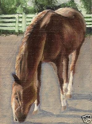 ACEO HORSE Chestnut Art PRINT of Oil Painting by VERN