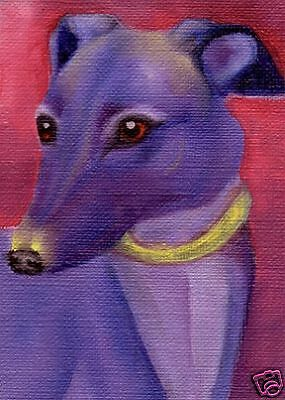 ACEO GREYHOUND Dog Art PRINT of Oil Painting by VERN