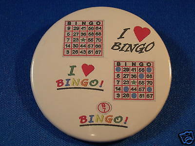 """I LOVE BINGO...""  Button pin pinback badge NEW! 2 1/4"""
