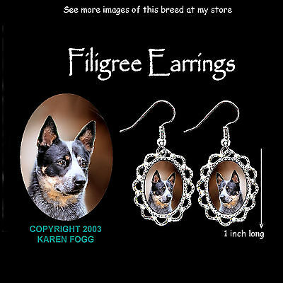 AUSTRALIAN CATTLE DOG Black - SILVER FILIGREE EARRINGS Jewelry
