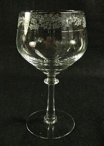 Fostoria Glass Venise Wine Goblet~Etched Flowers