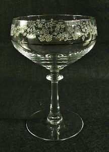 Fostoria Glass Venise Champagne Goblet~Etched Flowers