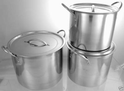 Brand New Set Of 3 Deep Stainless Steel Stock Pots Good