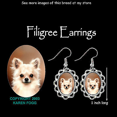 CHIHUAHUA DOG Longhair Fawn - SILVER FILIGREE EARRINGS Jewelry