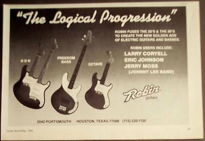 1984 Robin Guitars RDN, Freedom Bass vintage music ad