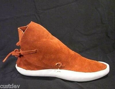 Men's Rust Navajo Style No Button Thick Sole Moccasins
