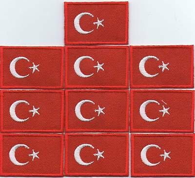 Lot 10 Ecusson Patche Thermocollant Drapeau Turquie Dimensions 4,5 X 3 Cm