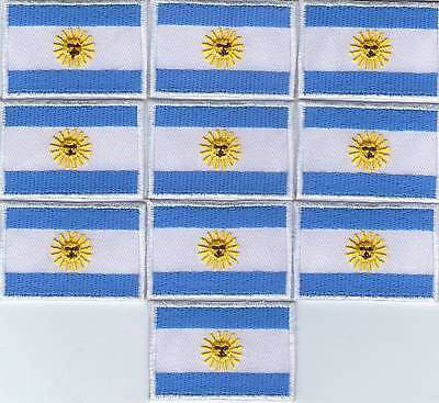 Lot 10 Ecusson Patche Thermocollant Drapeau Argentine Dimensions 4,5 X 3 Cm