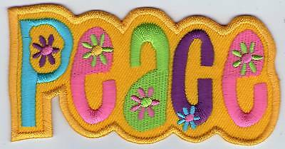 Ecusson Patche Patch Thermocollant Peace And Love Jaune Dimensions 10 X 5,5 Cm