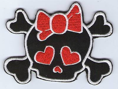 Ecusson Patche  Thermocollant Patch Girl Red Skull Dim. 8,5 X 6,5 Cm