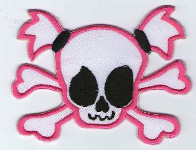 Ecusson Patche  Thermocollant Patch Girl Pink Skull Dim. 9 X 6,5 Cm
