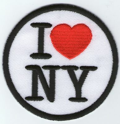 Ecusson Patche Thermocollant Patch I Love Ny New York Diametre 7,2 Cm