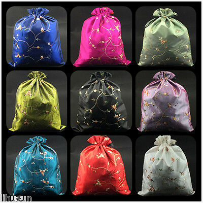 Wholesal10pc Chinese Handmade Classic Embroidered Floral  Silk Shoe Bags Pouch