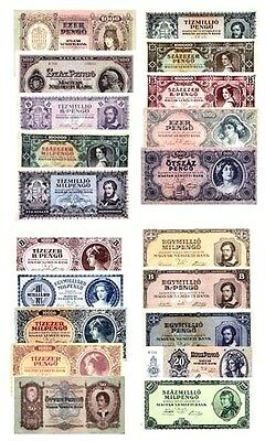 HUNGARY 20 Banknote Set,AU-Uncirculated