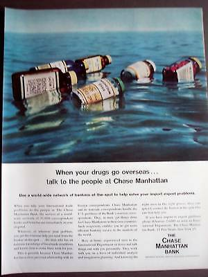 1957 CHASE MANHATTAN BANK drug bottles vintage ad