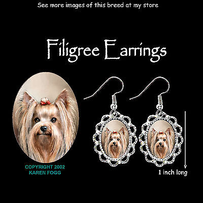 YORKSHIRE TERRIER DOG Yorkie - SILVER FILIGREE EARRINGS Jewelry