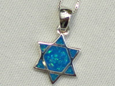 Star of David Blue Opal Pendant & 925 Silver Necklace