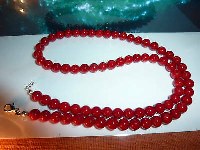 COLLIER CORAIL ROUGE perles 4.5 mm-REIKI