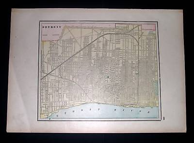 1893 BURGESS. City Map of Detroit Michigan Indianapolis