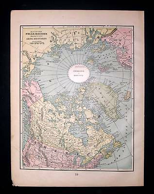 1889. CRAMS. Map of Polar Region, Arctic Region, Canada