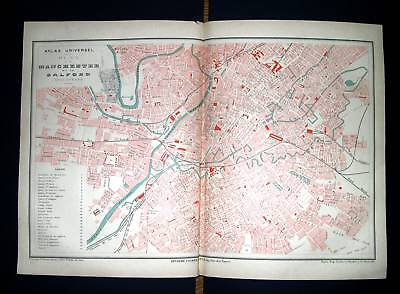 1877 FAYARD. Topographical Map - Manchester, Salford UK