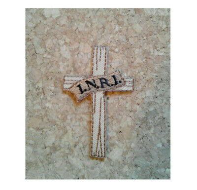 Cross I.N.R.I. Tan Embroidered Iron On Applique