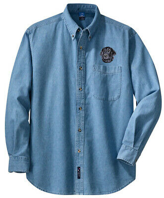 FLAT COATED RETRIEVER embroidered denim shirt XS-XL