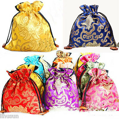 Wholesale10pcs Chinese Handmade Classic Silk Gift Bags Jewerly Pouches 6.5*7.2IN