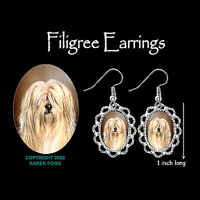 TIBETAN TERRIER DOG - SILVER FILIGREE EARRINGS Jewelry