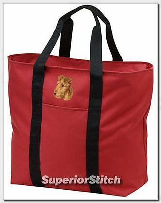 IRISH TERRIER embroidered tote bag ANY COLOR