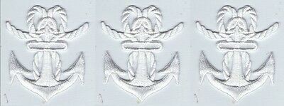 Lot 3 Ecusson Patche Patch Thermocollant Ancre Marine Blanche 5,1 X 4,8 Cms