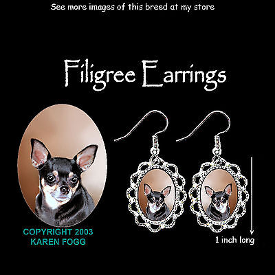 CHIHUAHUA DOG Smooth Tri Black and Tan - SILVER FILIGREE EARRINGS Jewelry