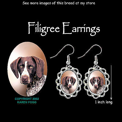 GERMAN SHORTHAIR POINTER DOG - SILVER FILIGREE EARRINGS Jewelry