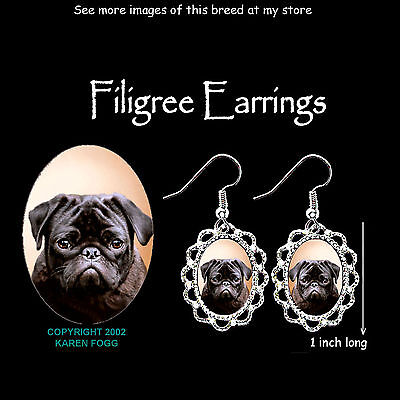 PUG DOG Black - SILVER FILIGREE EARRINGS Jewelry