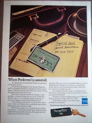 1981 American Express Card Preferred Hotels vintage ad