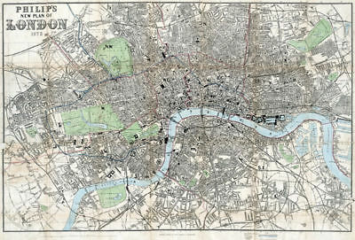 Philip's New Plan of London 1873, reproduction old map