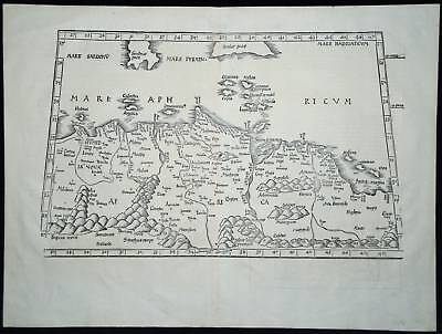 Early Map Of North Africa 1535 Ptolemy - Fries, Sardinia & Sicily