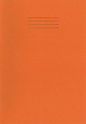 A4 School Office College Student Orange Exercise Book Ruled (8mm) & Margined