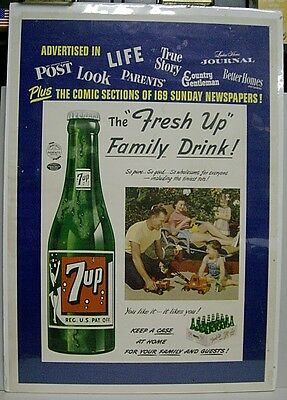 """1950's 7up The """"Fresh Up"""" Family Drink Paper Sign"""