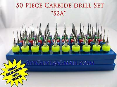 50 Piece Solid Carbide Micro Drill Bit Set  Jewelry_S2A