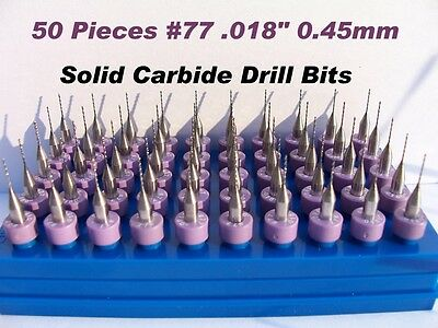 """50 Pieces Solid Carbide Drill Bits__ #77  .018""""  0.45mm"""