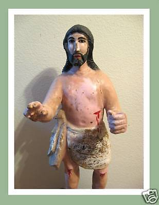 Tall Rare Old Carved Wood Santos Jesus Christ Statue