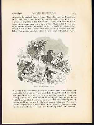 Indians Attacking Stagecoach  -1878 Wood Engraving